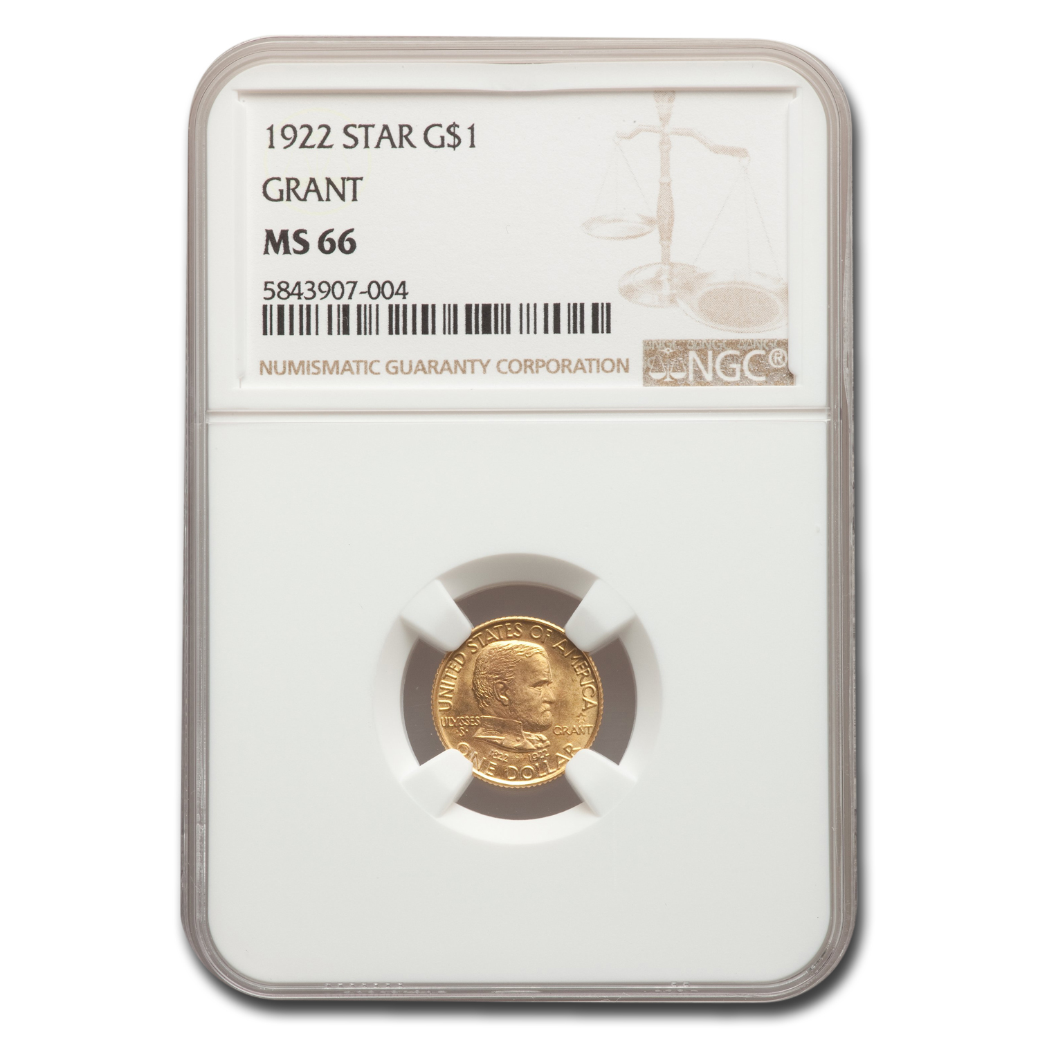 1922 Gold $1.00 Grant w/Star MS-66 NGC