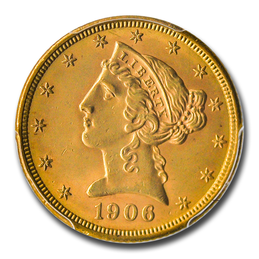 1906 $5 Liberty Gold Half Eagle MS-64 PCGS