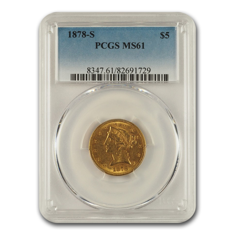 1878-S $5 Liberty Gold Half Eagle MS-61 PCGS
