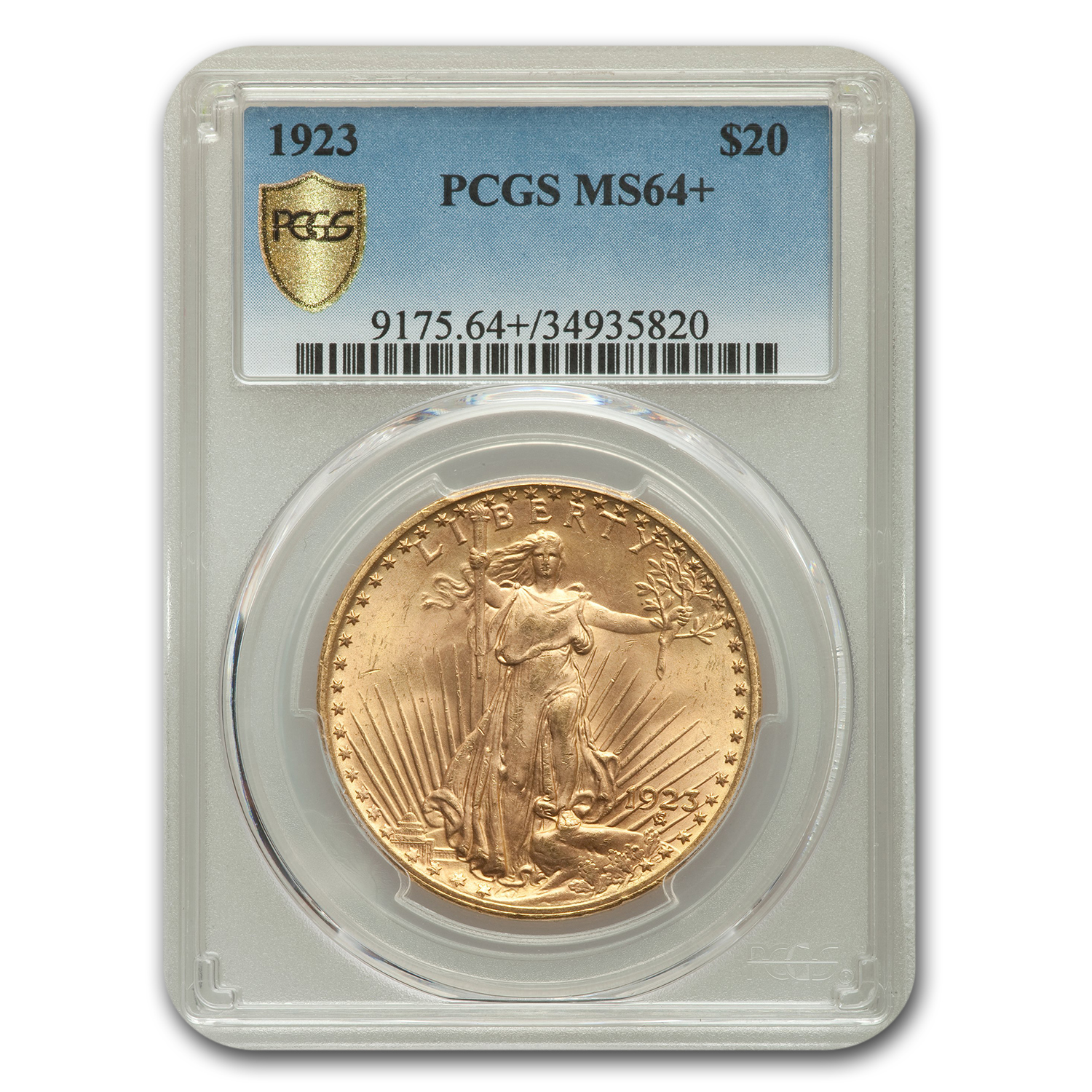 1923 $20 St. Gaudens Gold Double Eagle MS-64+ PCGS