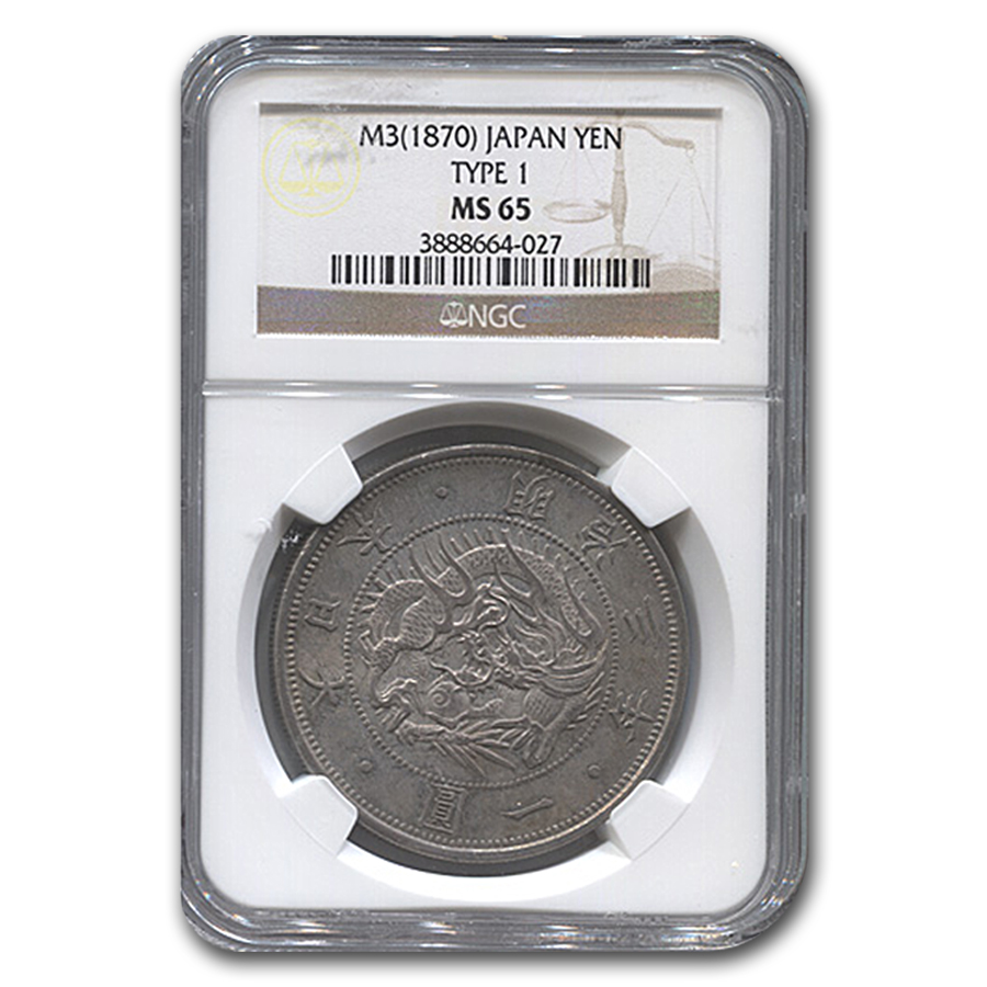 1870 (M3) Japan Silver 1 Yen Meiji Era MS-65 NGC