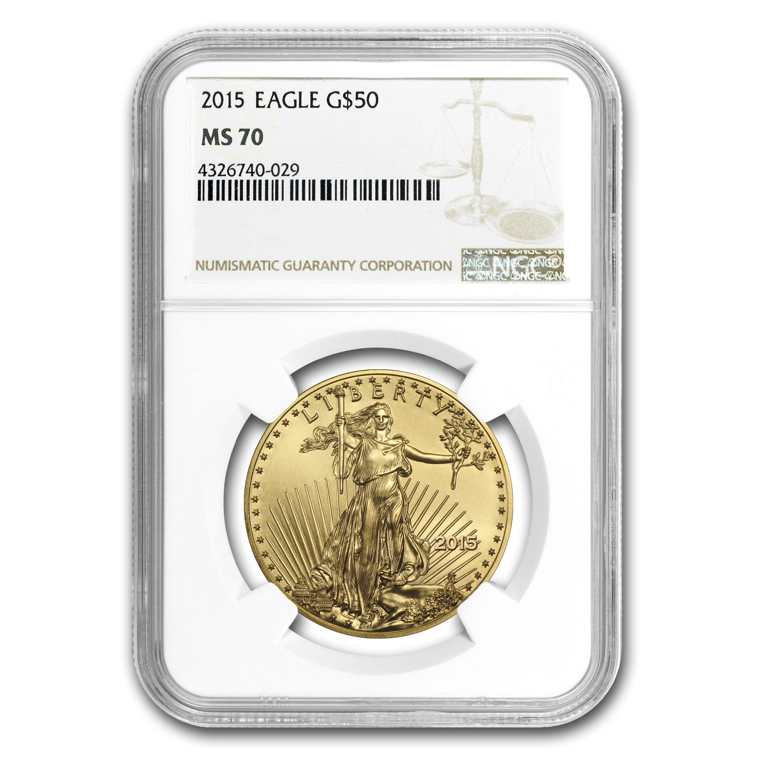2015 1 oz Gold American Eagle MS-70 NGC