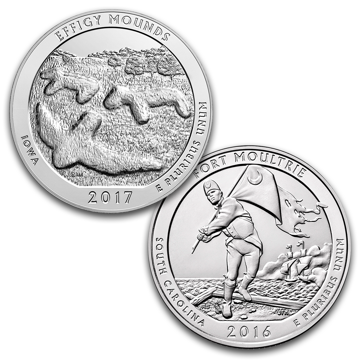 2016-2017 2-Coin 5 oz ATB Coins: Effigy Mounds/Fort Moultrie