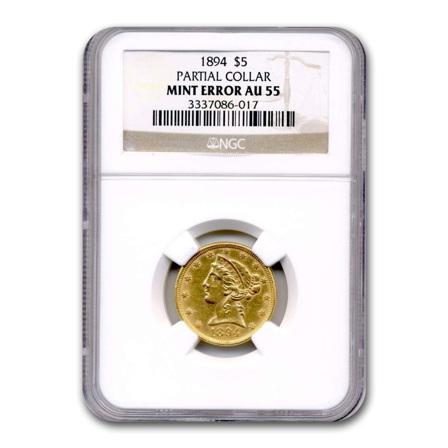 1894 $5 Liberty Gold Half Eagle AU-55 NGC(Mint Error)