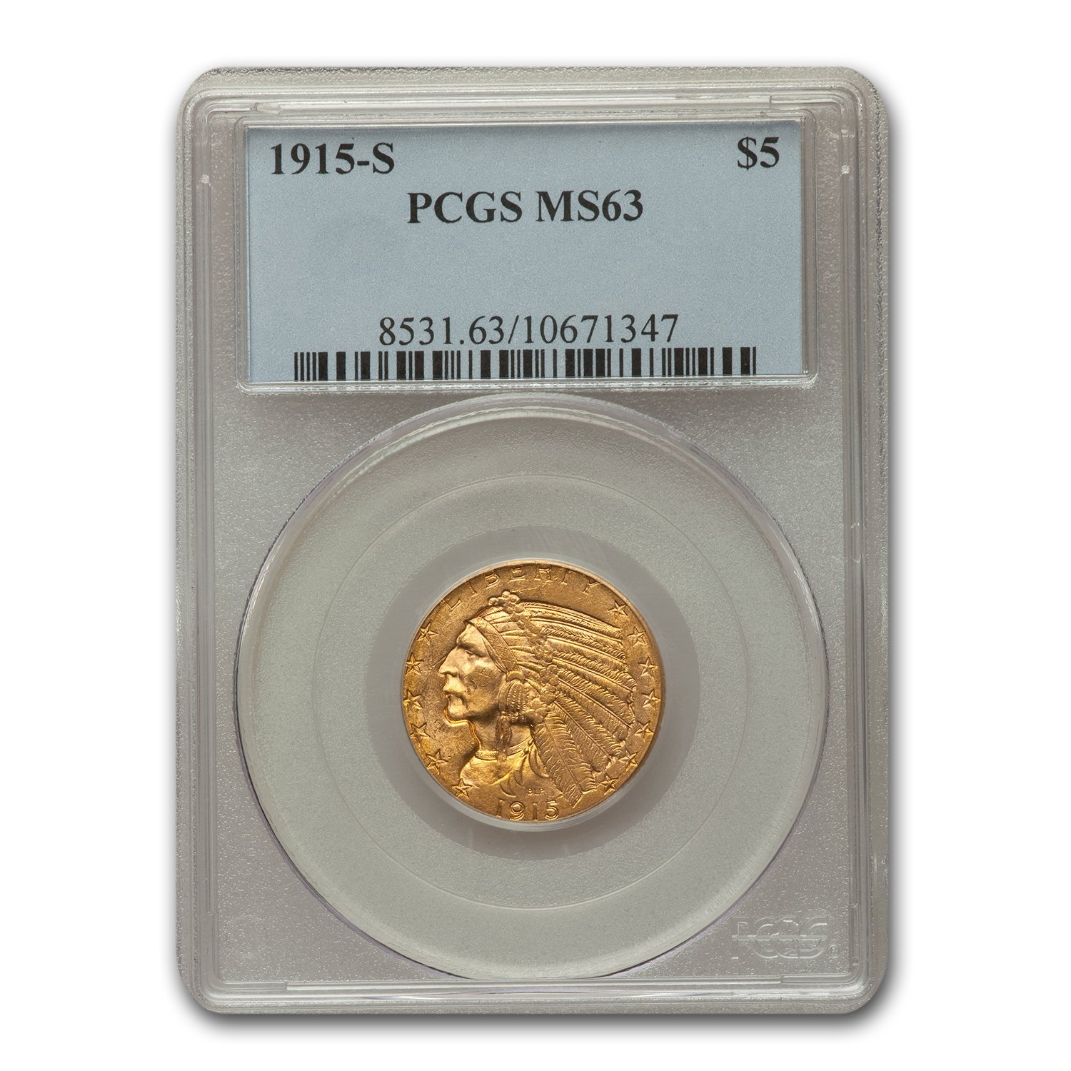 1915-S $5 Indian Gold Half Eagle MS-63 PCGS