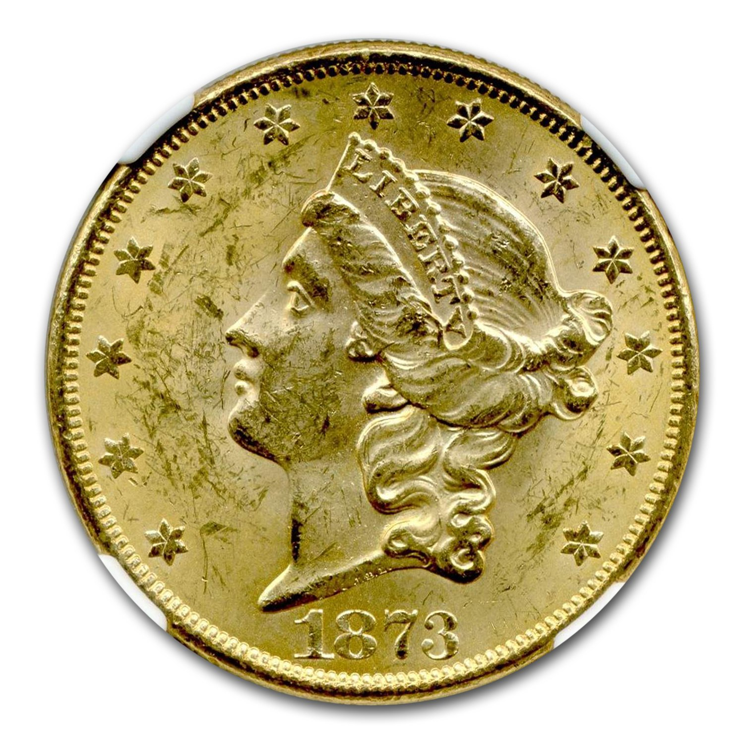 1873 $20 Liberty Gold Dbl Eagle MS-62+ NGC CAC Open 3, DDO FS-101