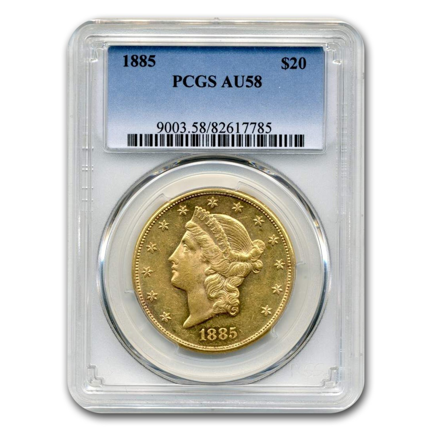 1885 $20 Liberty Gold Double Eagle AU-58 PCGS