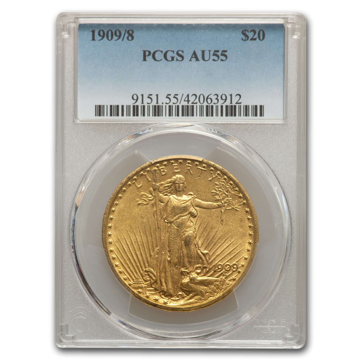 1909/8 $20 Saint-Gaudens Gold Double Eagle AU-55 PCGS