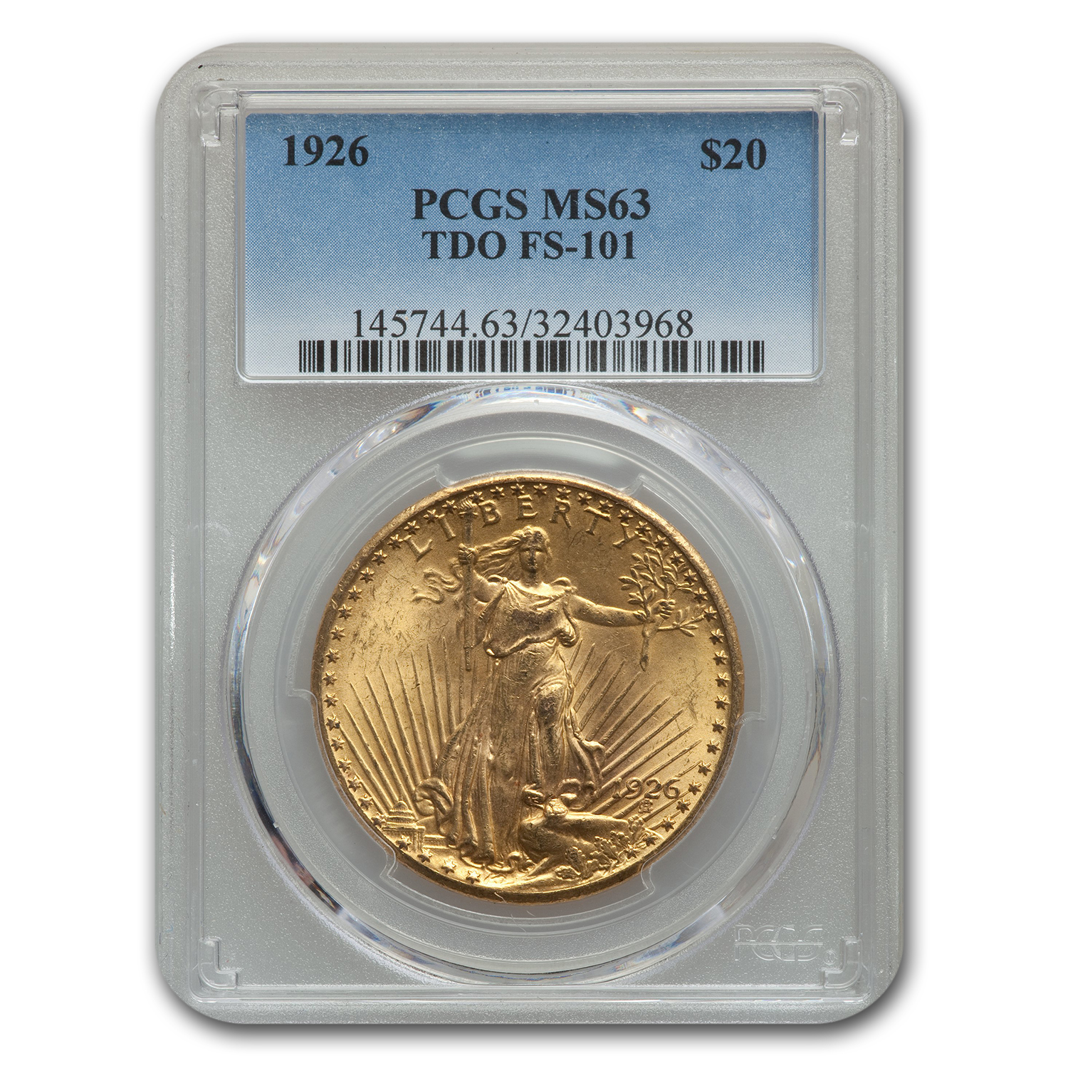 1926 $20 St. Gaudens Gold Double Eagle MS-63 (TDO, FS-101)