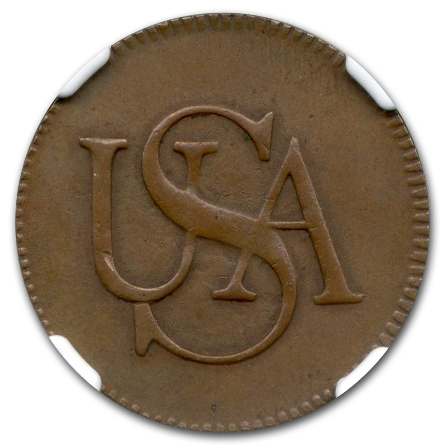 1785 USA Bar Cent AU-58 NGC CAC (Brown)