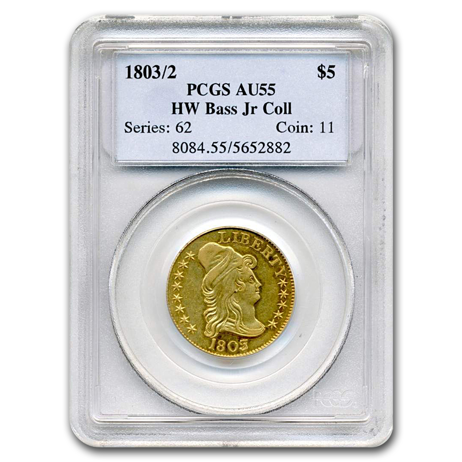 1803/2 $5 Turban Head Gold Half Eagle AU-55 PCGS CAC