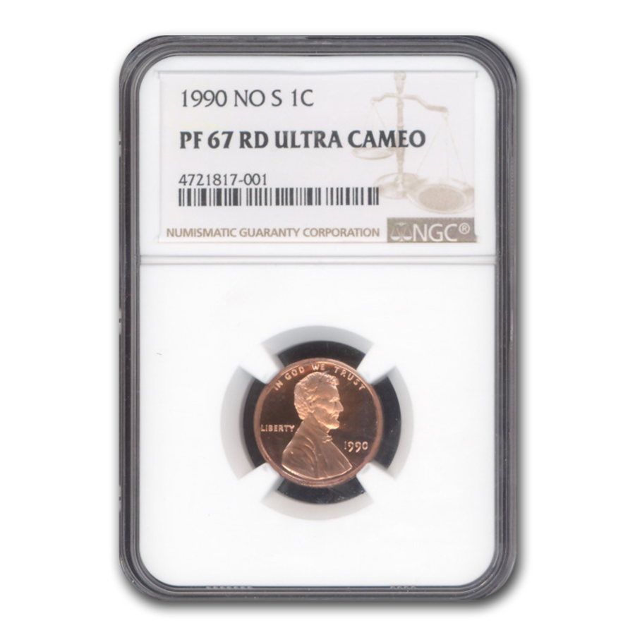 1990 No S Lincoln Cent PF-67 UCAM NGC (Red)