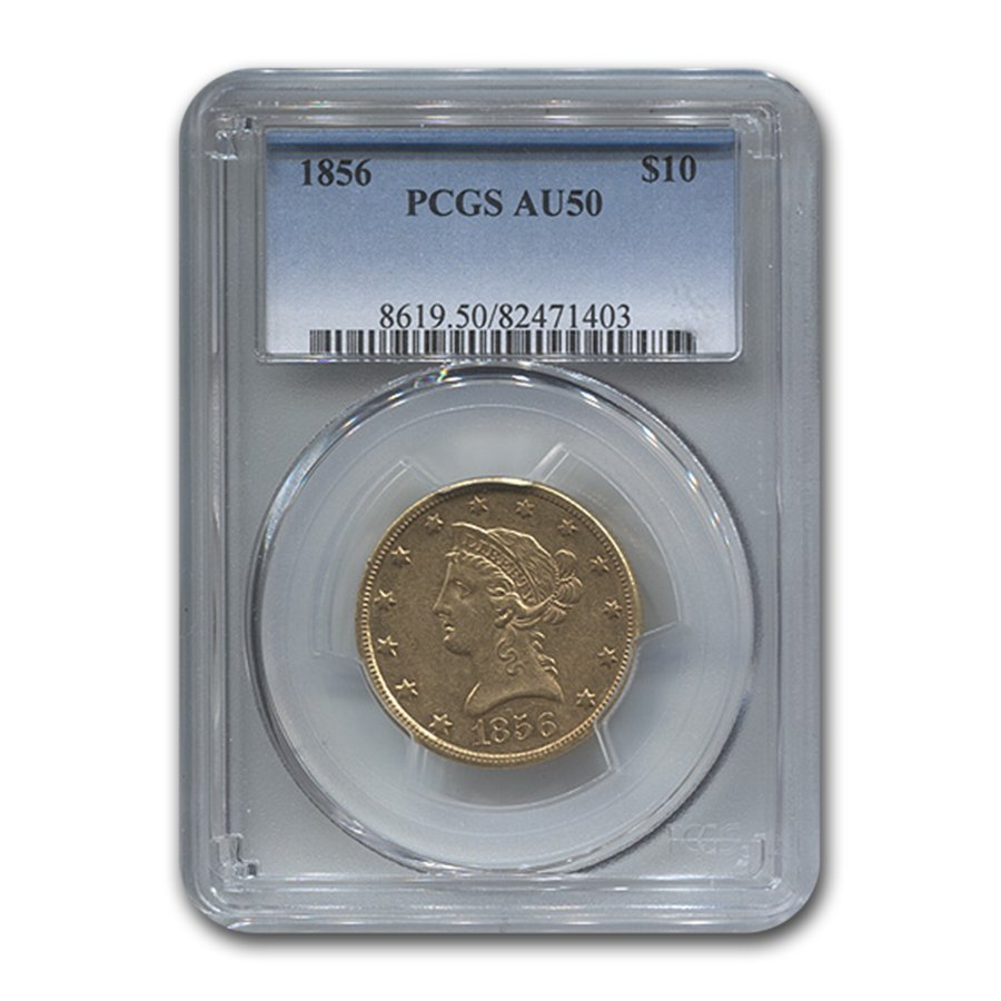 1856 $10 Liberty Gold Eagle AU-50 PCGS