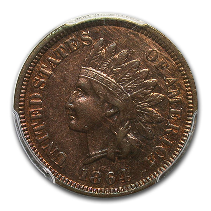 1864-L Indian Head Cent MS-62 PCGS (Brown, L on Ribbon)