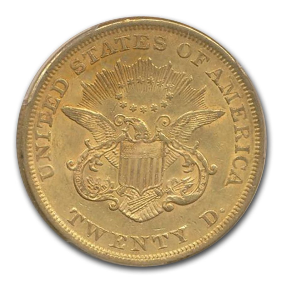 1852 $20 Liberty Gold Double Eagle AU-55 PCGS CAC