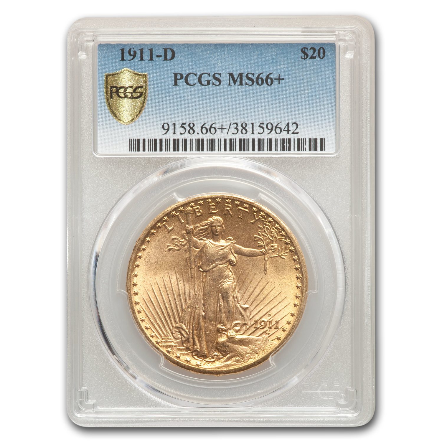 1911-D $20 St. Gaudens Gold Double Eagle MS-66+ PCGS