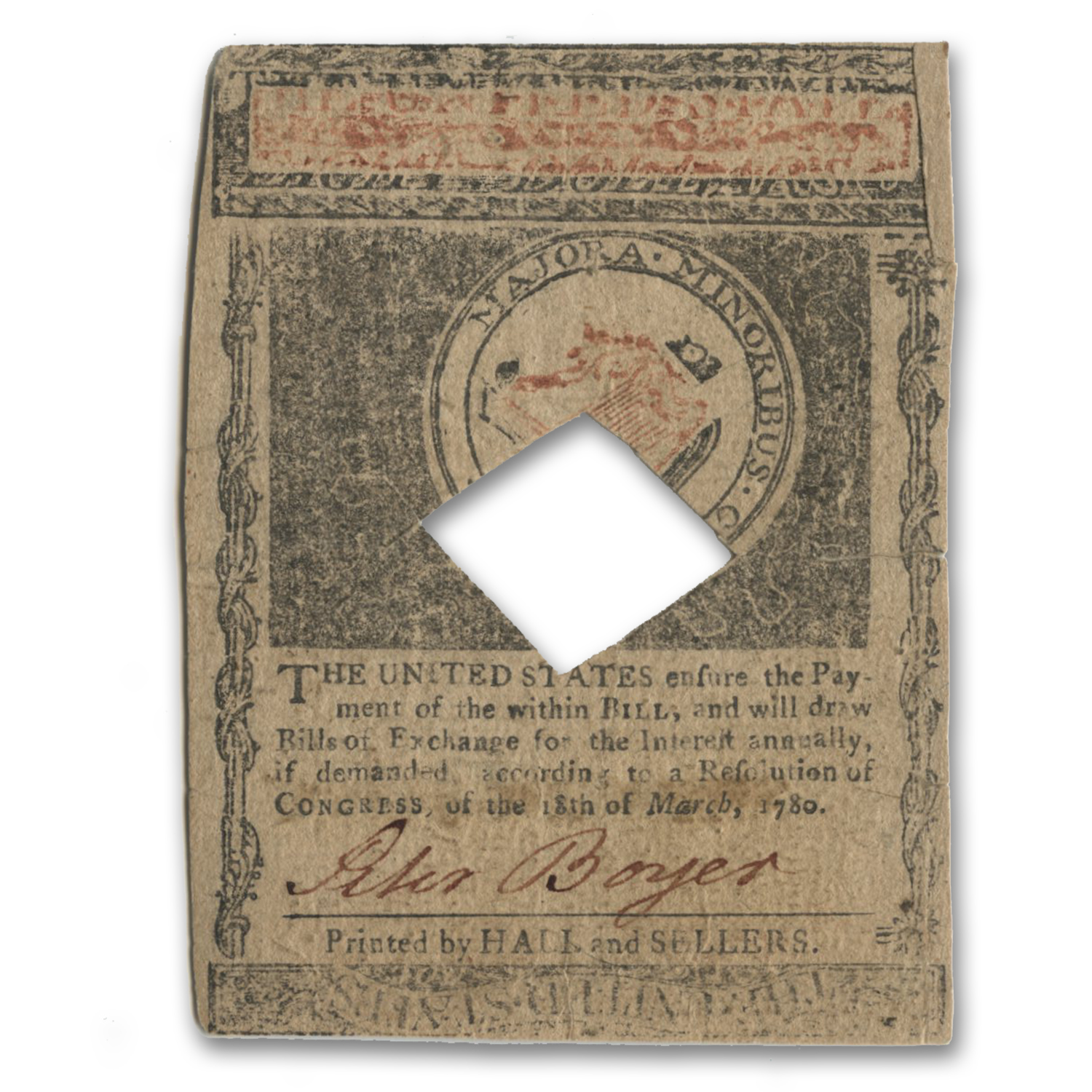 1780 $8 Massachusetts Currency 5/5/1780 VF (Cancelled)