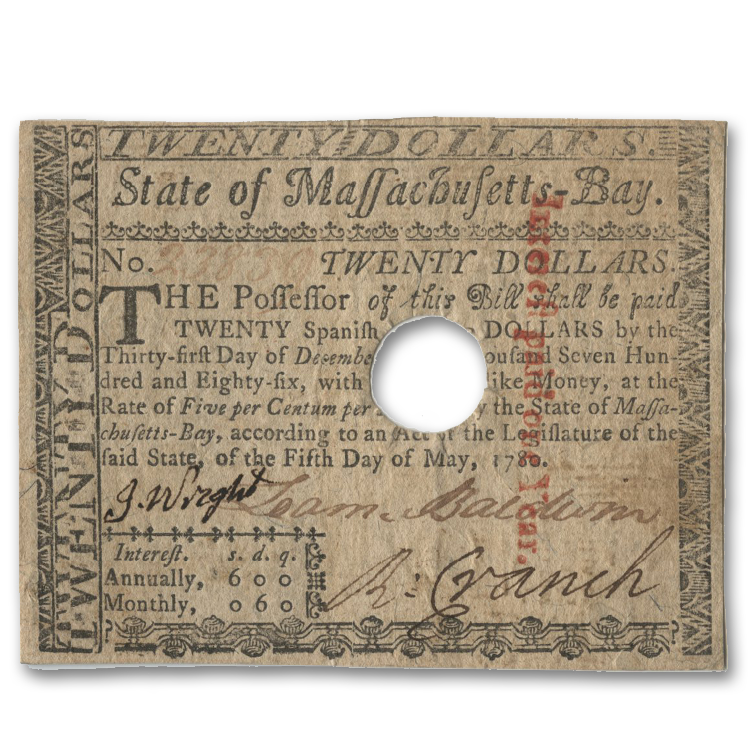 1780 $20 Massachusetts Currency 5/5/1780 VF (Cancelled)