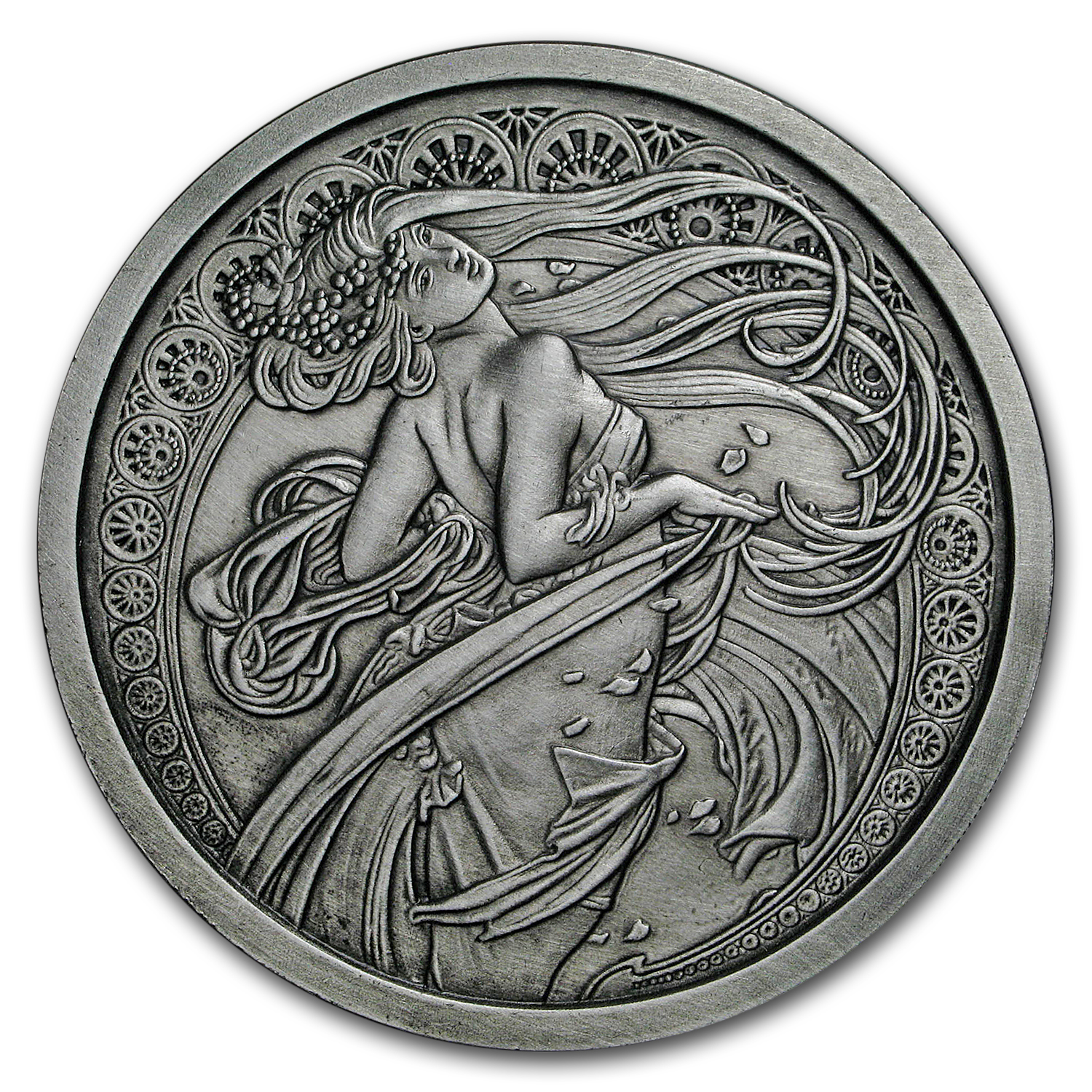 5 oz Silver Antique Round Mucha Collection (Dance)