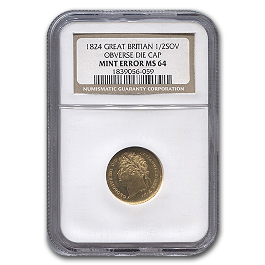 1824 Great Britain Gold 1/2 Sov George IV MS-64 NGC (Error)
