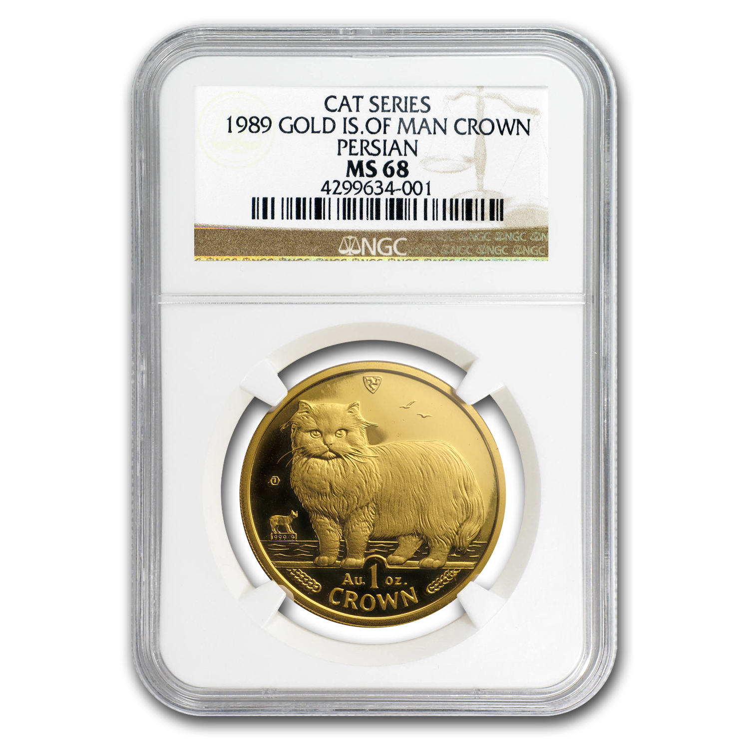 1989 Isle of Man 1 oz Gold Persian Cat MS-68 NGC
