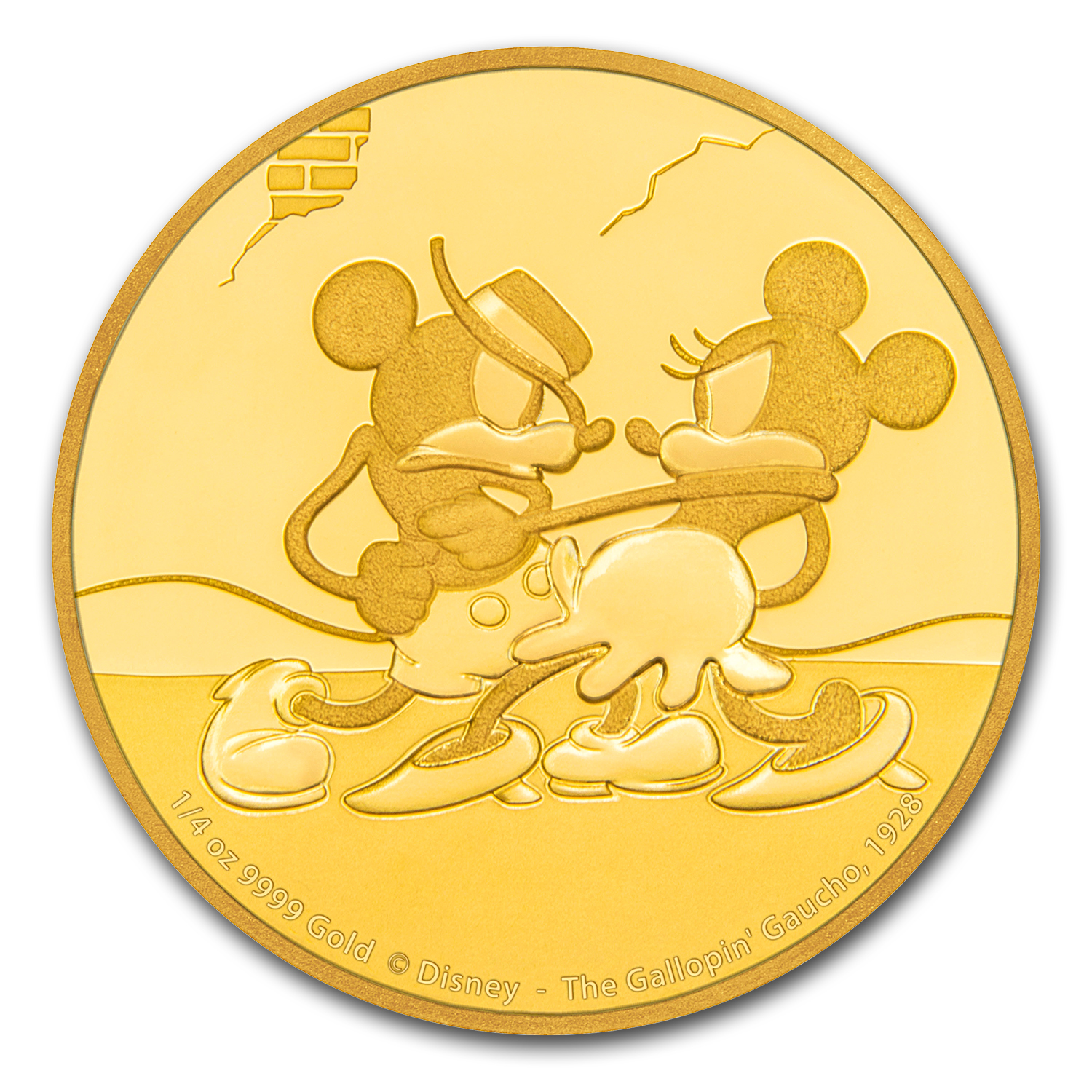 2017 1/4 oz Gold $25 Mickey Through the Ages: Gallopin' Gaucho