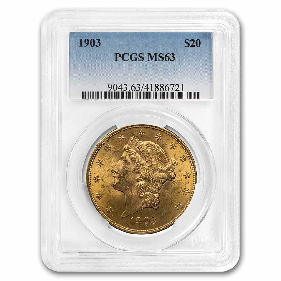 1903 $20 Gold Liberty Double Eagle MS-63 PCGS