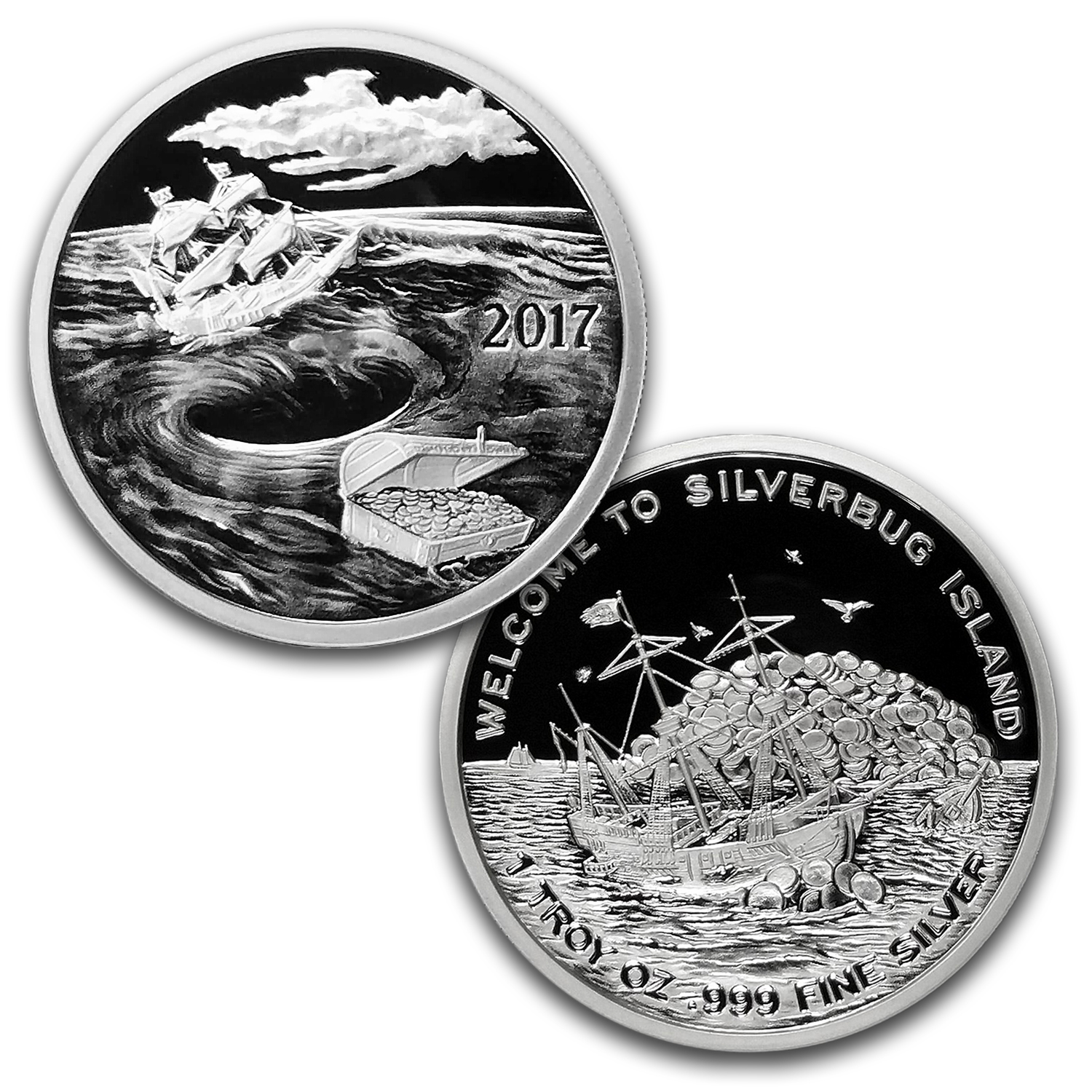 1 oz Silver Proof 4-Round Set - 2015-2017 Silverbug Island