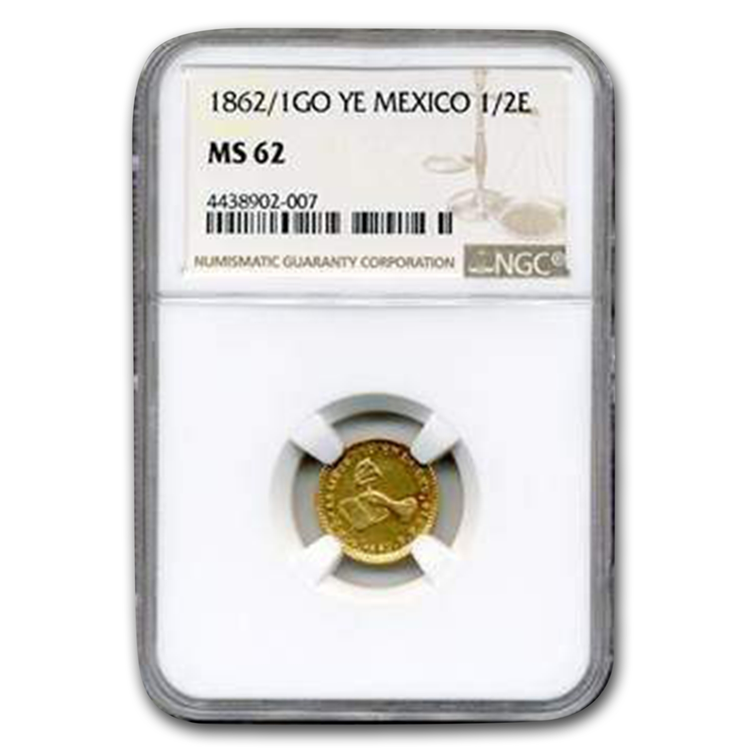 1862/1 Go-YE Mexico Gold 1/2 Escudo MS-62 NGC