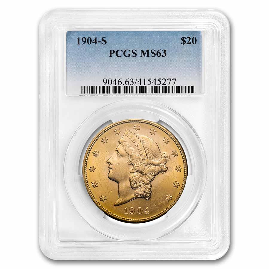1904-S $20 Liberty Gold Double Eagle MS-63 PCGS