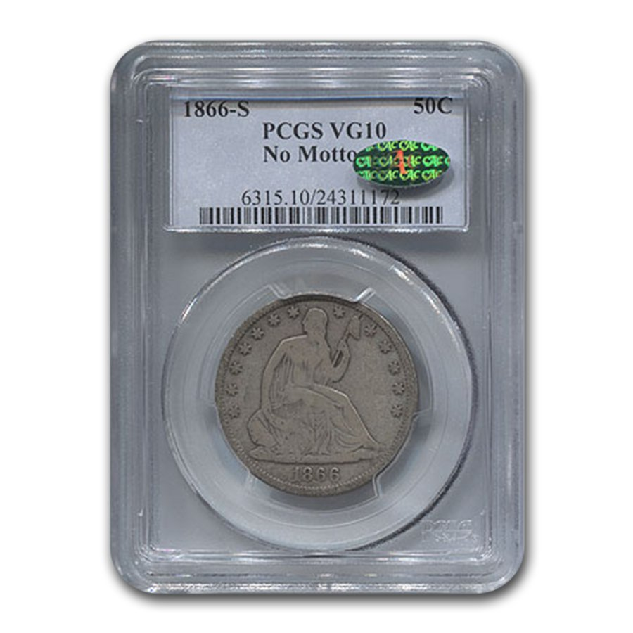 1866-S Liberty Seated Half Dollar VG-10 PCGS CAC (No Motto)