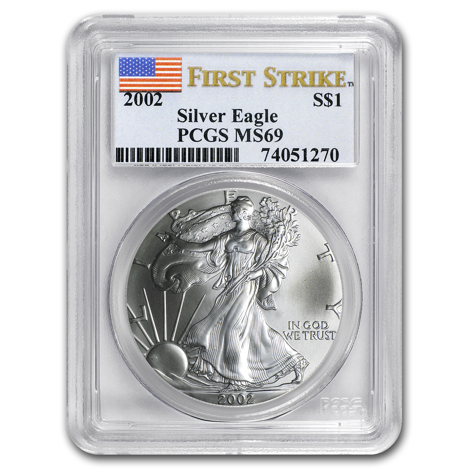 2002 Silver American Eagle MS-69 PCGS (First Strike)