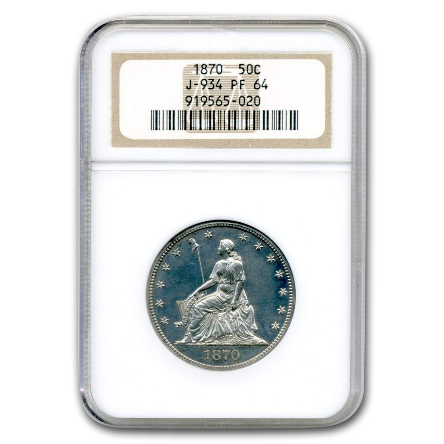 1870 Liberty Seated Half Dollar Pattern PF-64 NGC (Judd-934)
