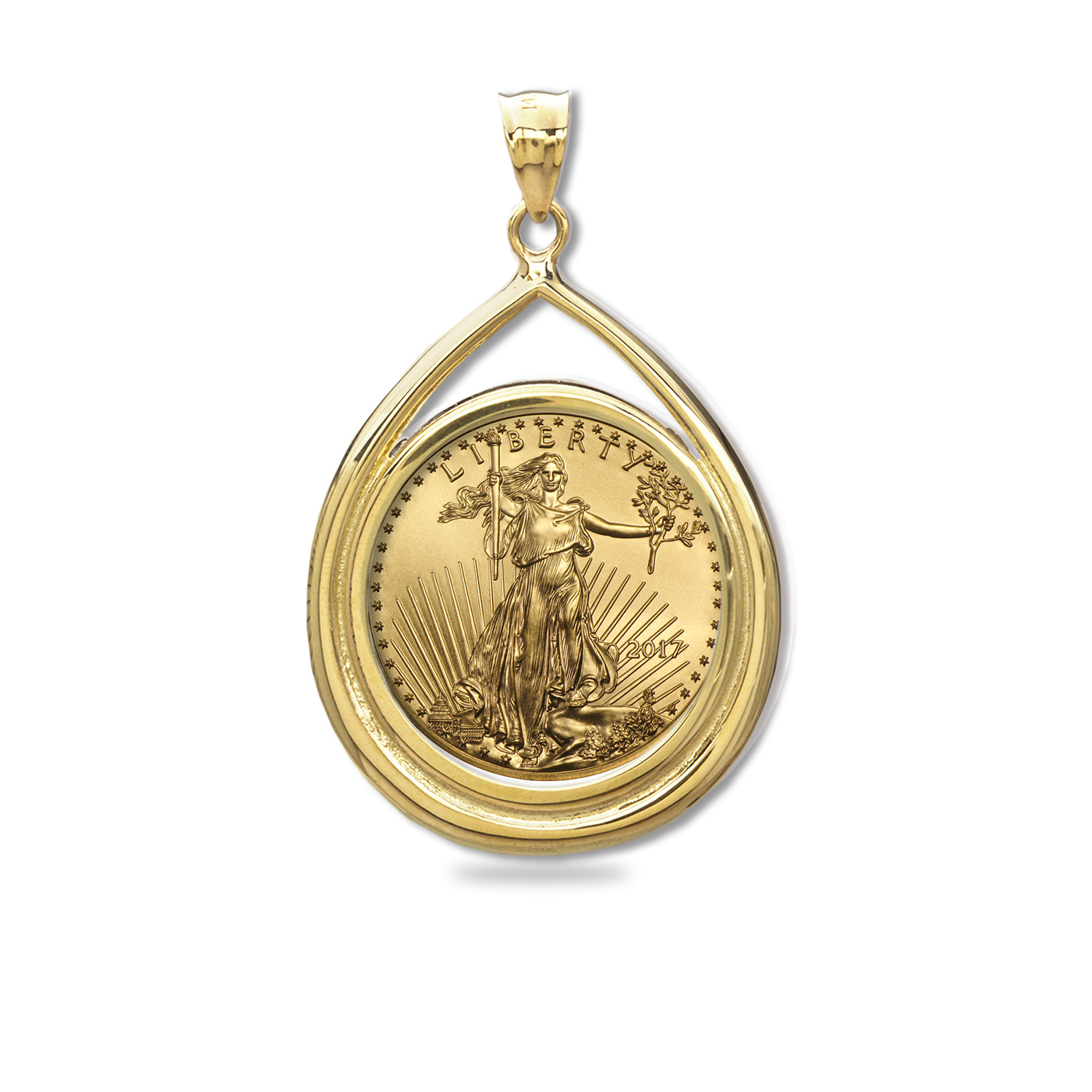 2017 1/10 oz Gold Eagle Teardrop Pendant (Prong Bezel)