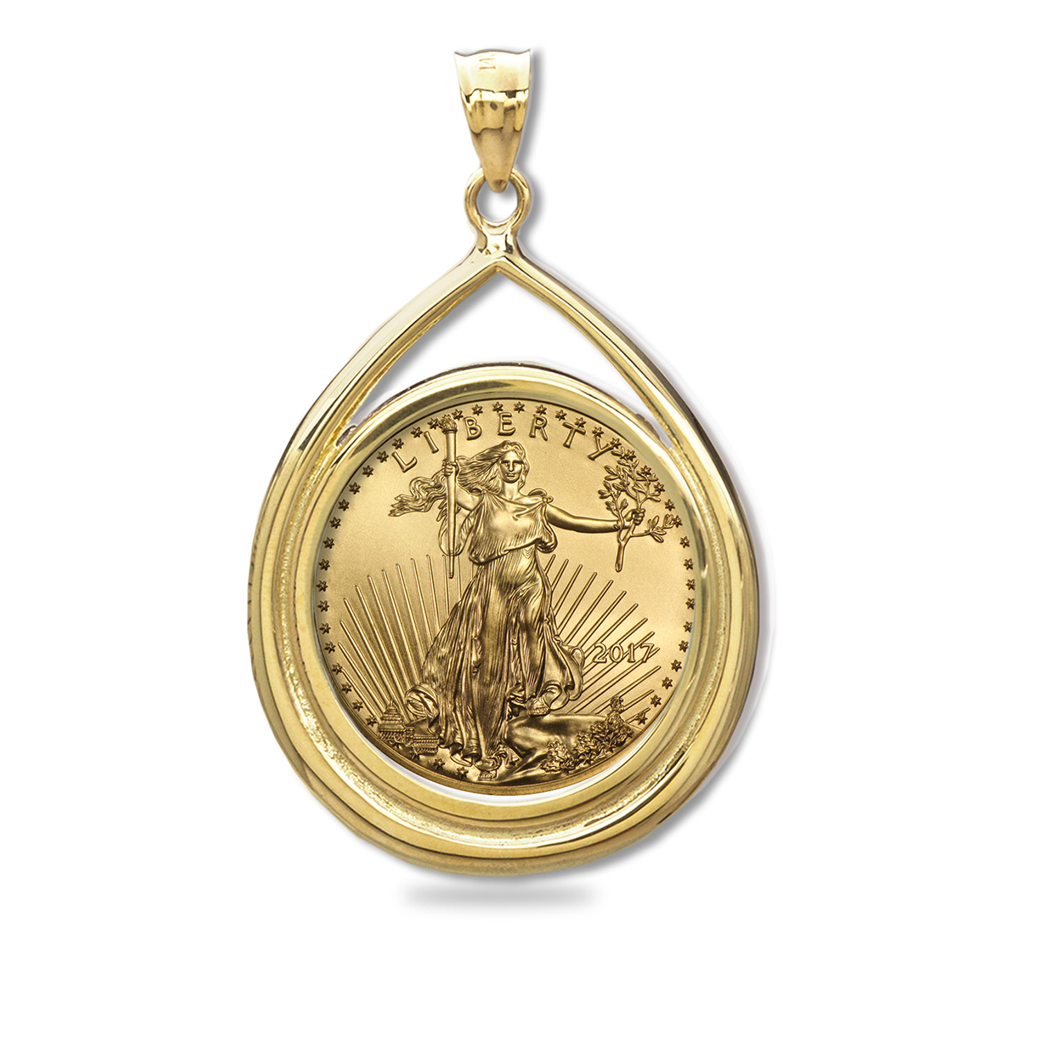 2017 1/4 oz Gold Eagle Teardrop Pendant (Prong Bezel)