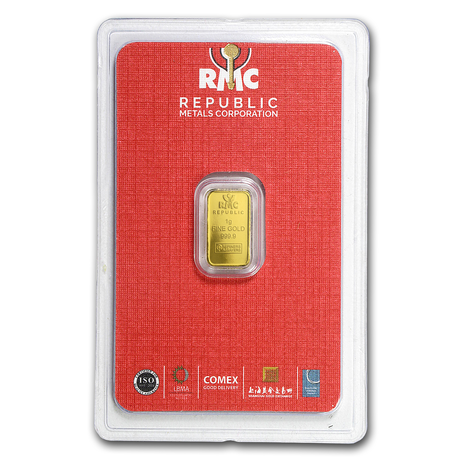 1 gram Gold Bar - Republic Metals Corporation (In Assay)