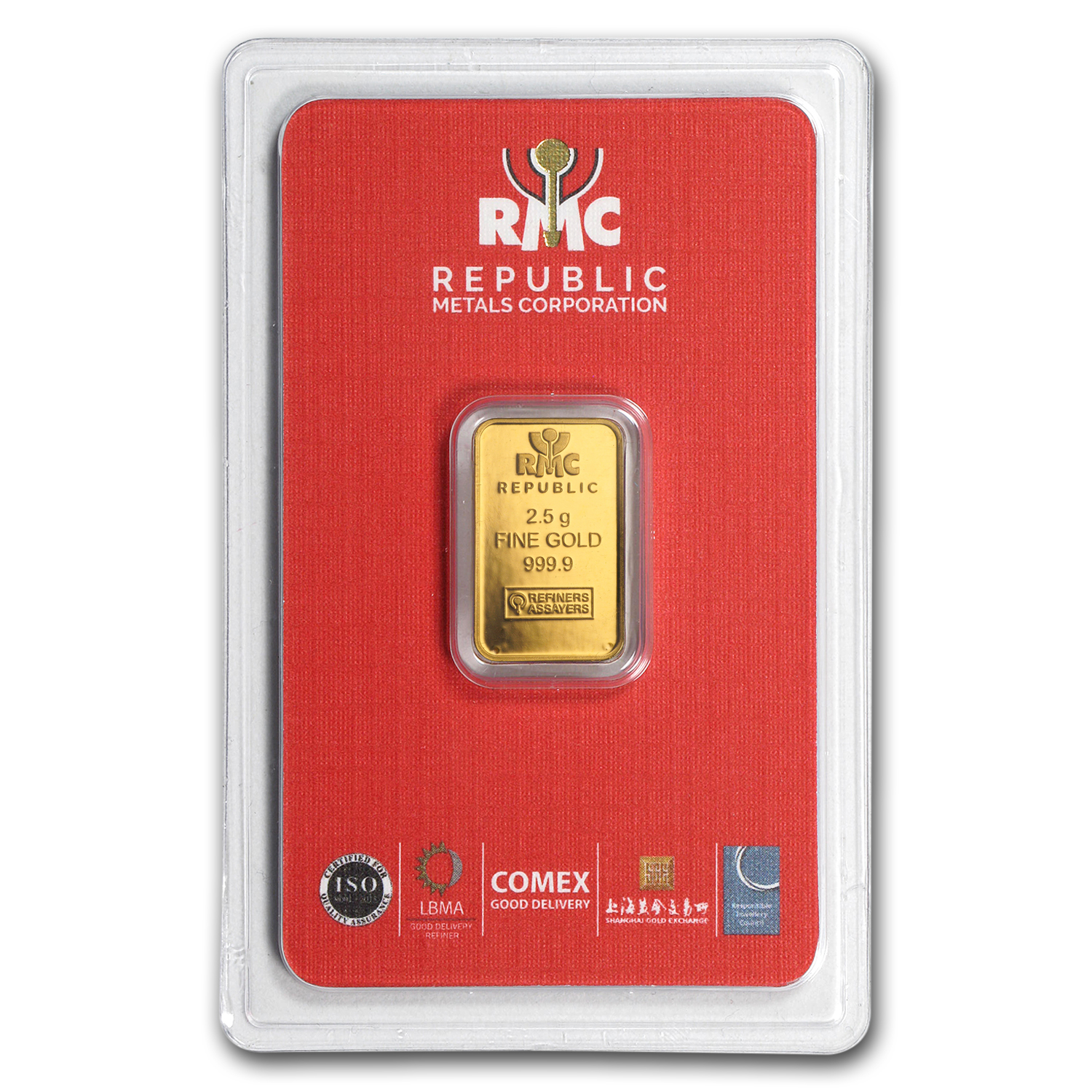 2.5 gram Gold Bar - Republic Metals Corporation (In Assay)