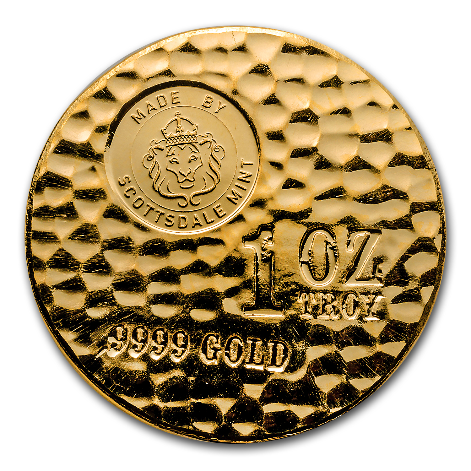 1 oz Gold Round - Scottsdale Tombstone Hammered Gold Piece