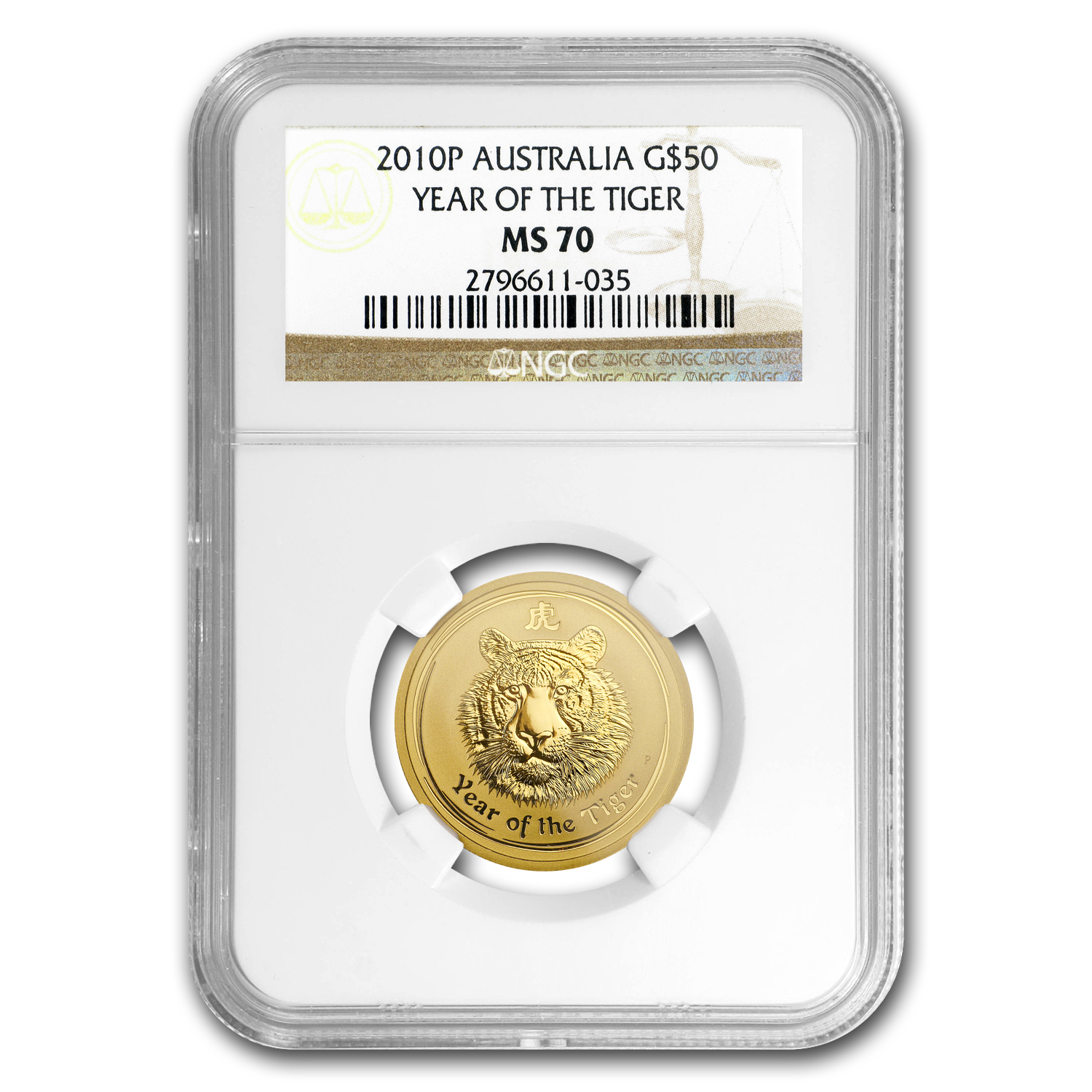2010 Australia 1/2 oz Gold Lunar Tiger MS-70 NGC (Series II)