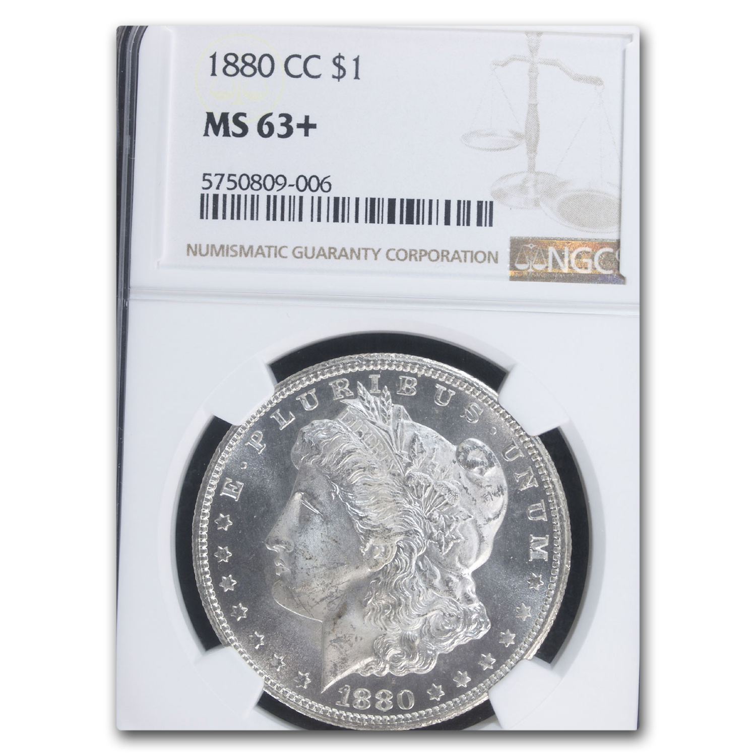 1880-CC Morgan Dollar MS-63+ Plus NGC