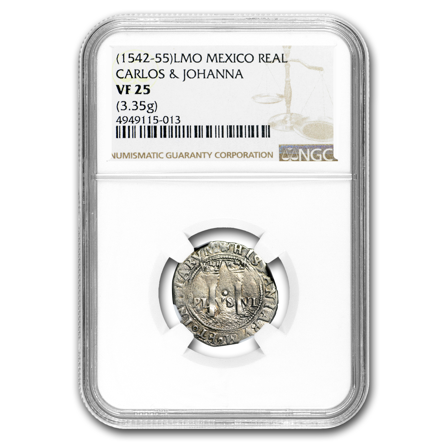 (1542-55) Carlos and Johanna 1 Real VF-25 NGC