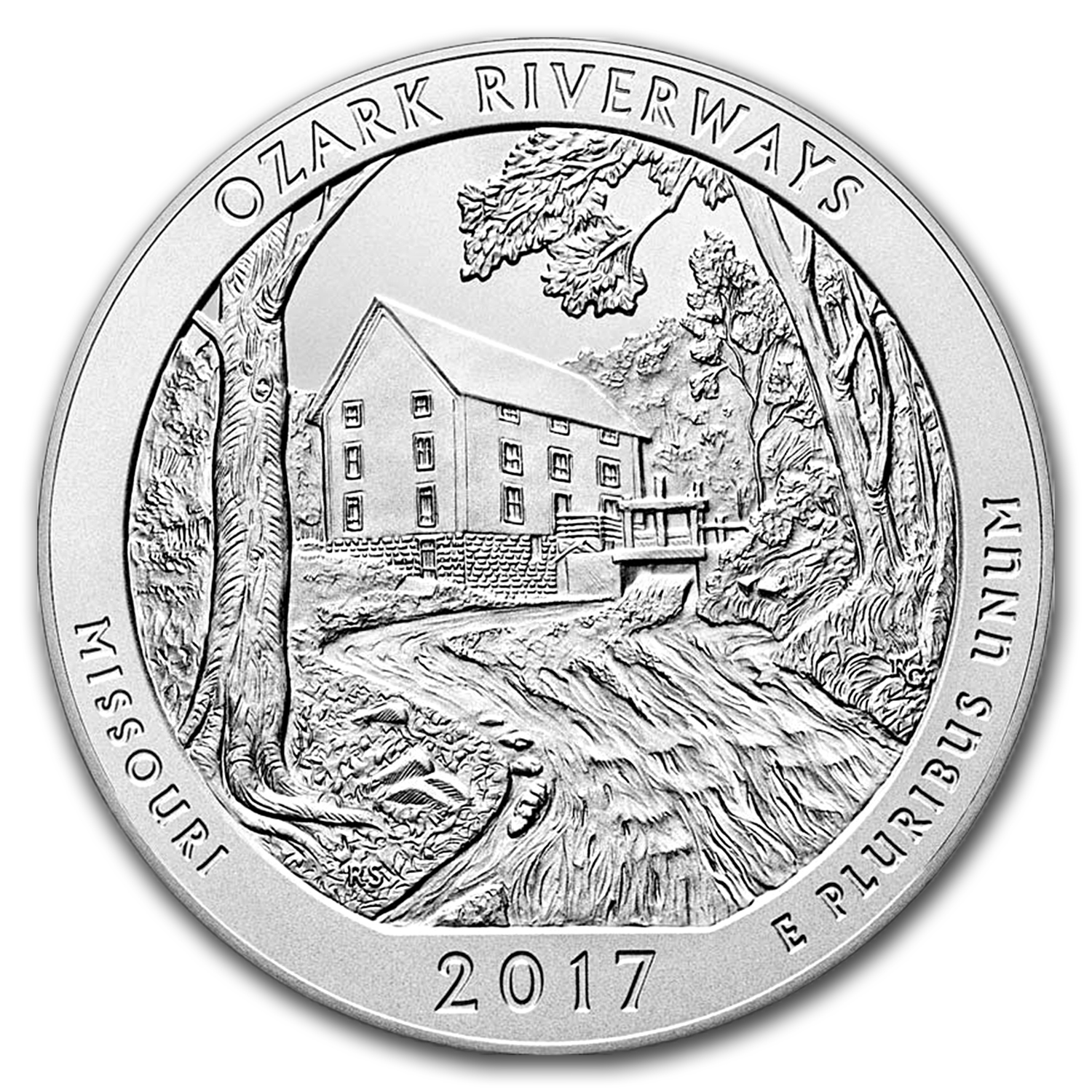 2017-P 5 oz Silver ATB Ozark Riverways (w/Box & COA)