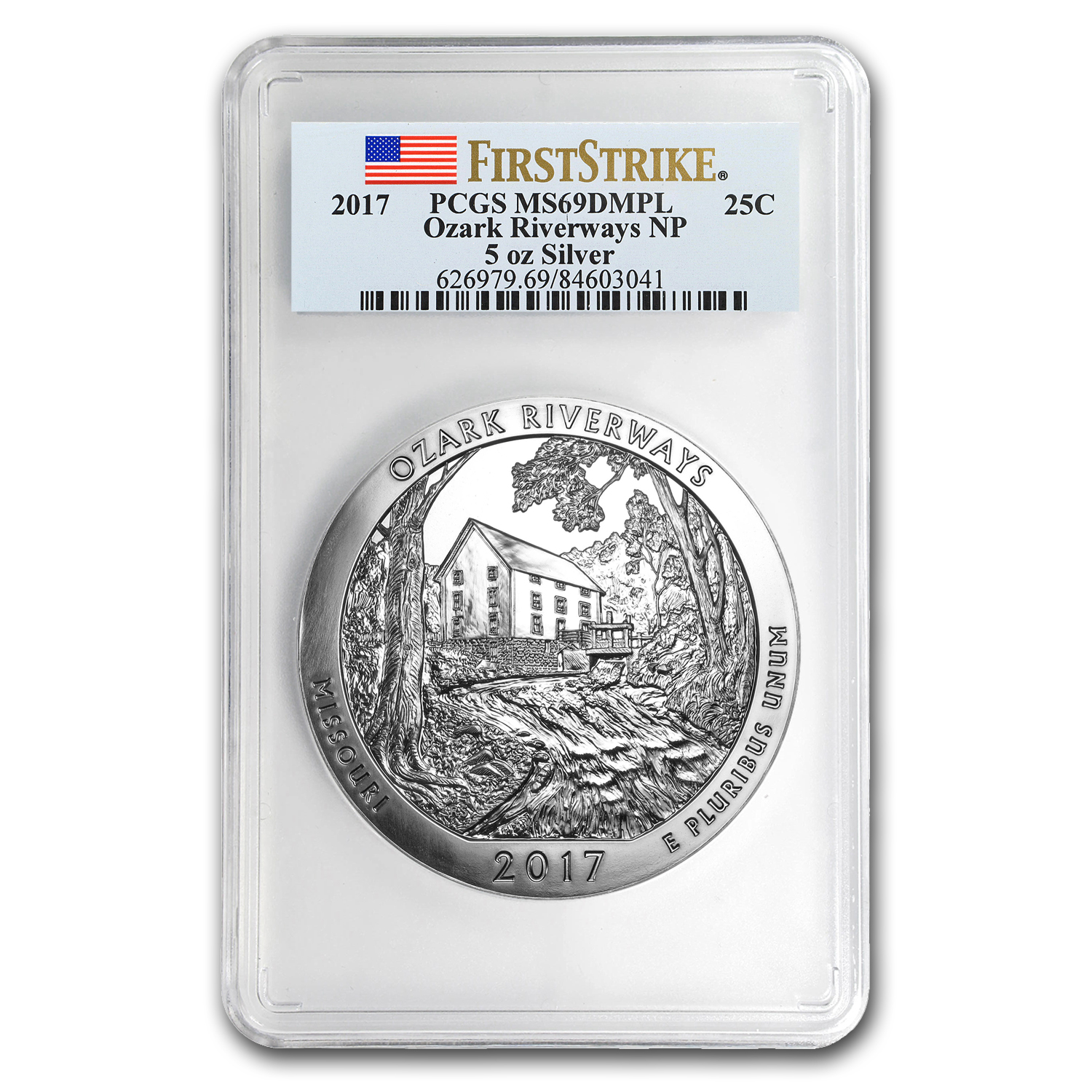 2017 5 oz Silver ATB Ozark Riverways MS-69 DMPL PCGS (FS)