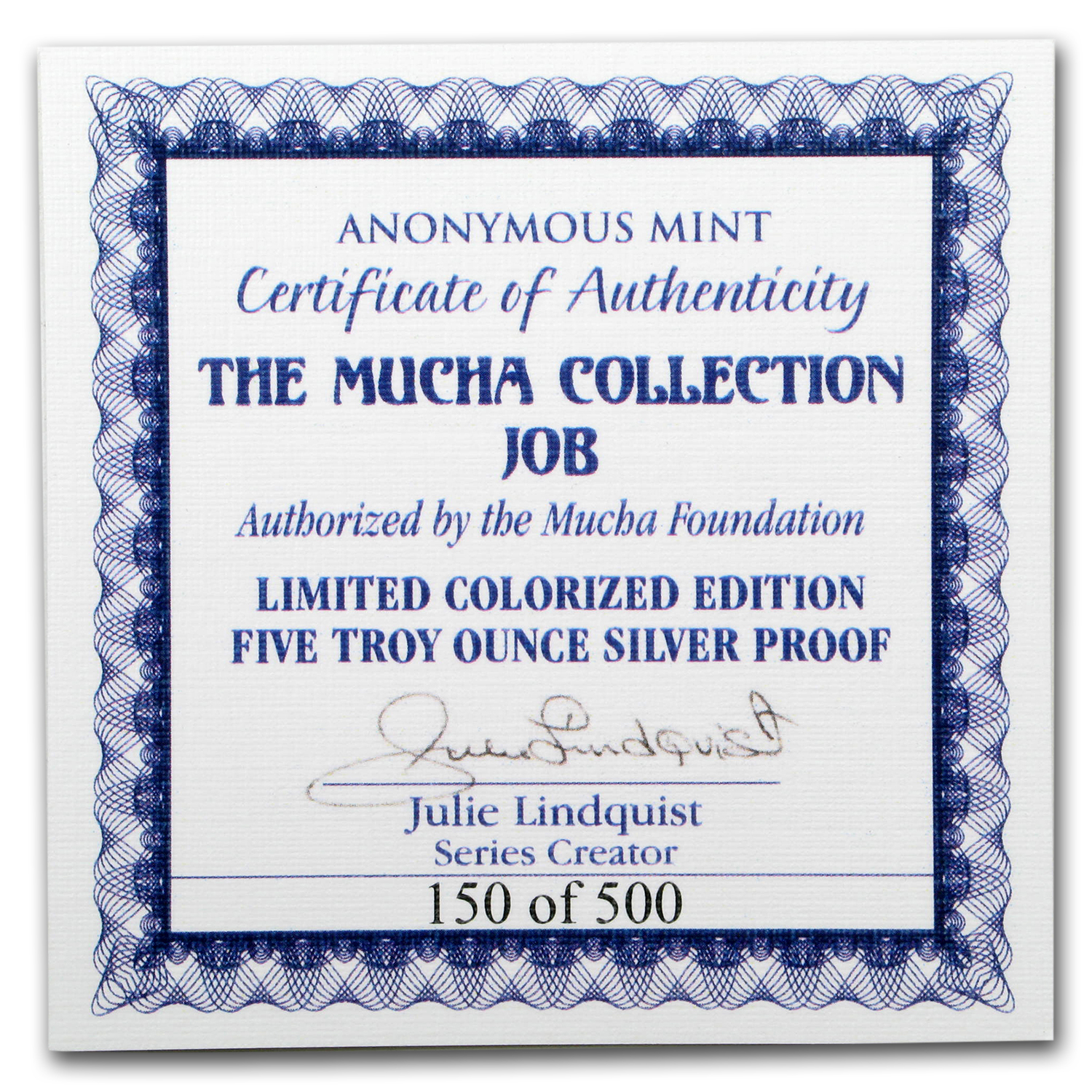 5 oz Silver Colorized Proof Round Mucha Collection (JOB)