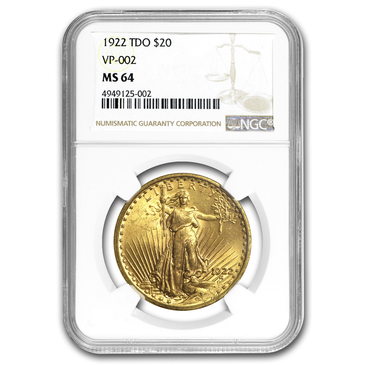 1922 $20 Saint-Gaudens Gold Double Eagle MS-64 NGC (TDO VP-002)