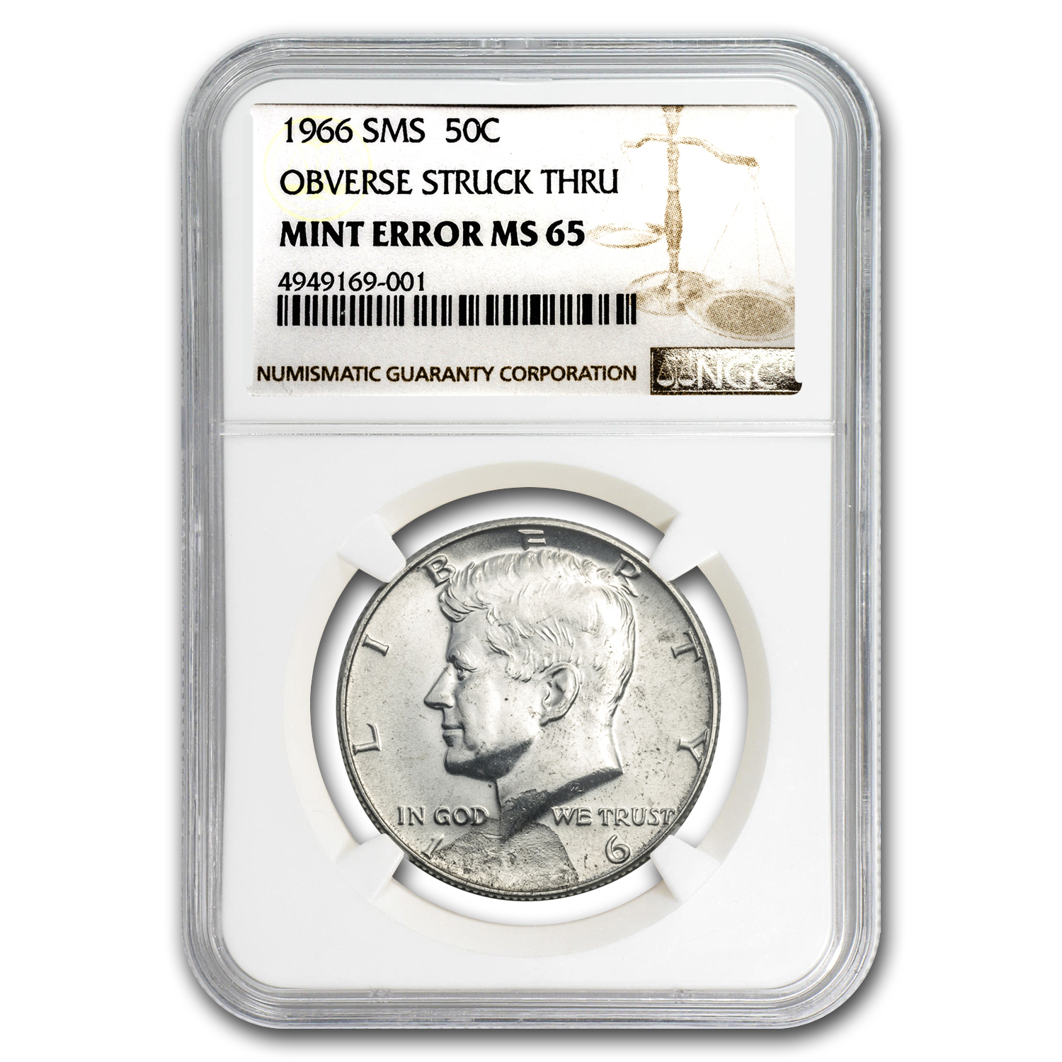 1966 Kennedy Half Dollar SMS MS-65 NGC (Obv Struck Thru Error)