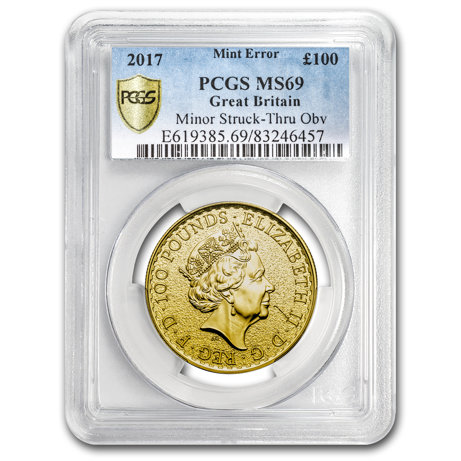 2017 Great Britain 1 oz Gold Britannia MS-69 PCGS (Mint Error)