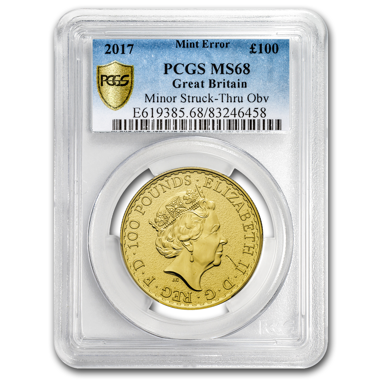 2017 Great Britain 1 oz Gold Britannia MS-68 PCGS (Mint Error)