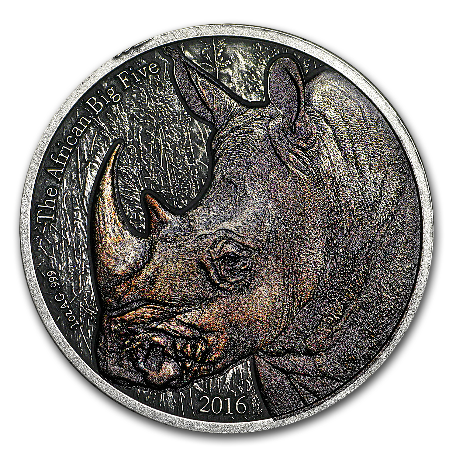 2016 Burkina Faso 1 oz Silver African Big Five (Rhinoceros)