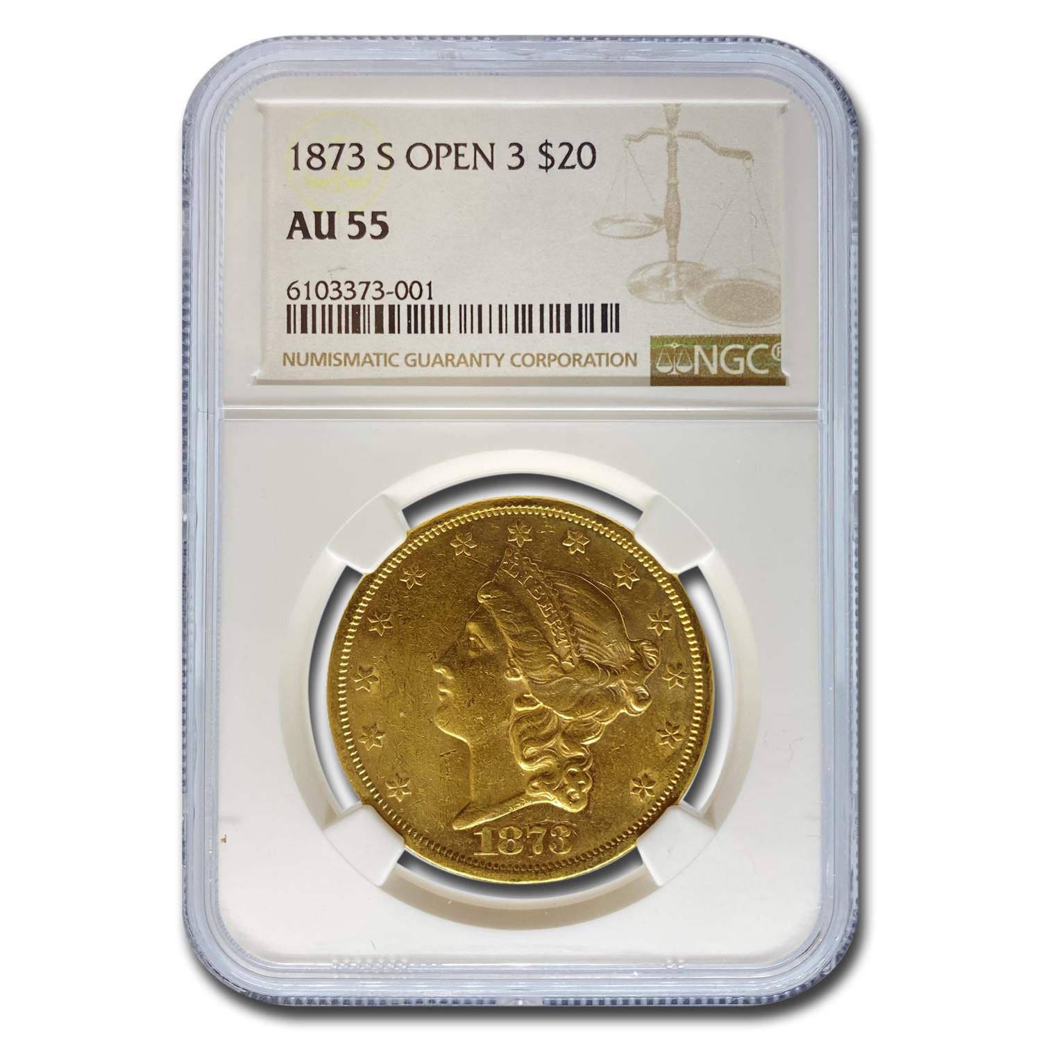 1873-S $20 Liberty Gold Double Eagle Open 3 AU-55 NGC